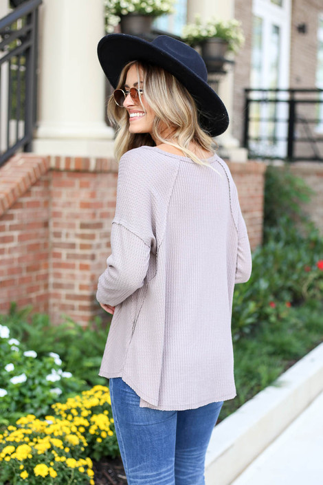 Model wearing Taupe Oversized Waffle Knit Top Back View