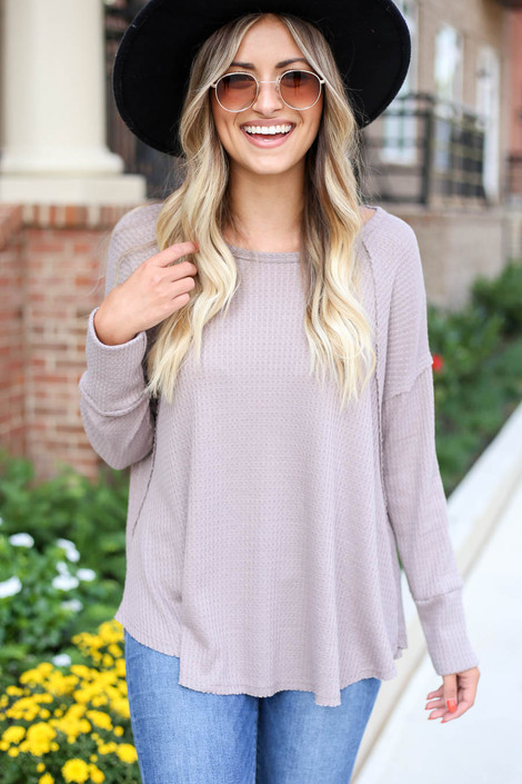 Taupe - Oversized Waffle Knit Top Front View