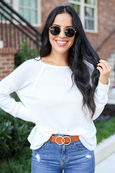 White - Oversized Waffle Knit Top Tucked In