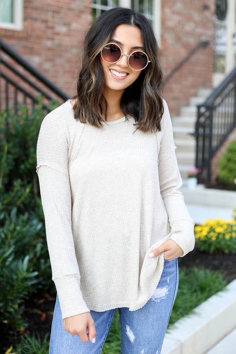Natural - Oversized Waffle Knit Top