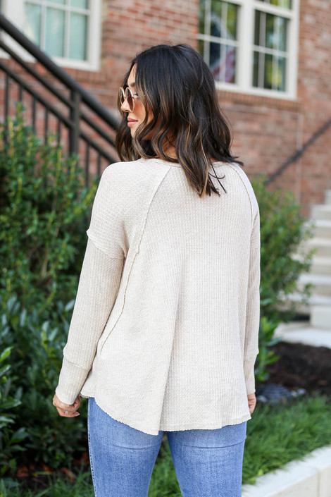 Model wearing Natural Oversized Waffle Knit Top Back View