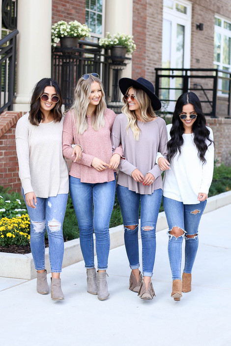 Models wearing Rust, Taupe, White, and Natural Oversized Waffle Knit Top
