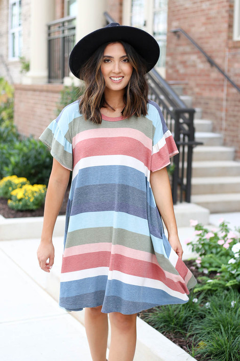Multi - Striped T-Shirt Dress