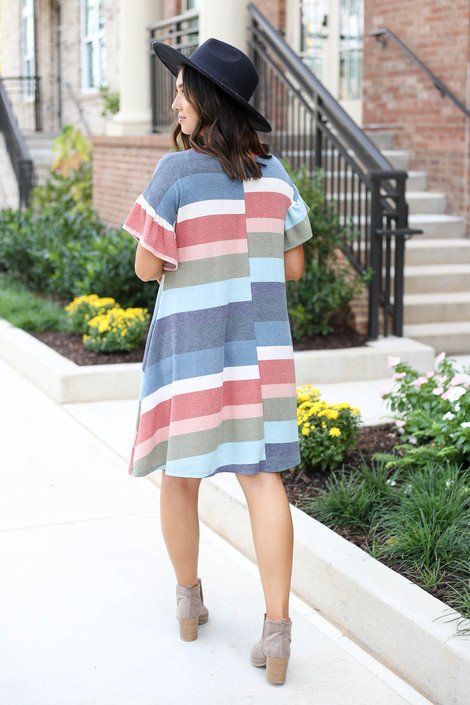 Model wearing Multi Striped T-Shirt Dress Back View