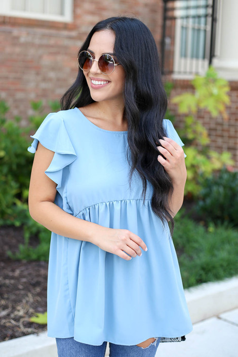 Denim - Flutter Sleeve Blouse