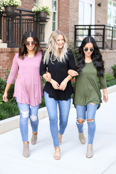 Models wearing Black, Olive, and Mauve 3/4 Sleeve Tops