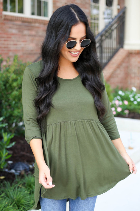 Model wearing Olive 3/4 Sleeve Babydoll Top
