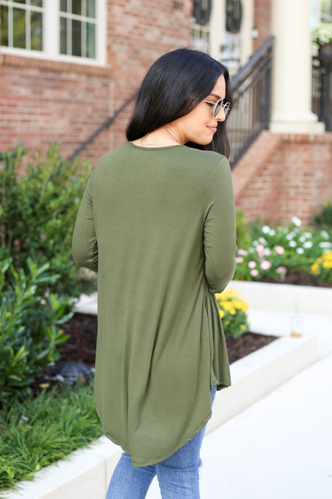 Model wearing Olive 3/4 Sleeve Babydoll Top Back View
