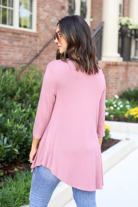 Model wearing Mauve 3/4 Sleeve Babydoll Top Back View