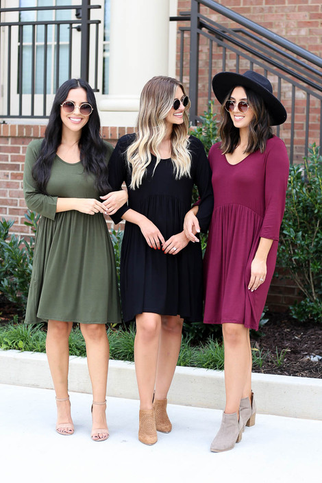 Black - Burgundy, and Olive 3/4 Sleeve Babydoll Dresses