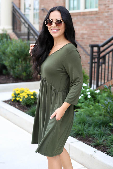 Olive - 3/4 Sleeve Babydoll Dress Side View