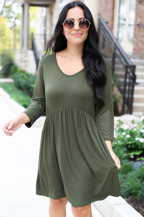 Model wearing Olive 3/4 Sleeve Babydoll Dress Front View