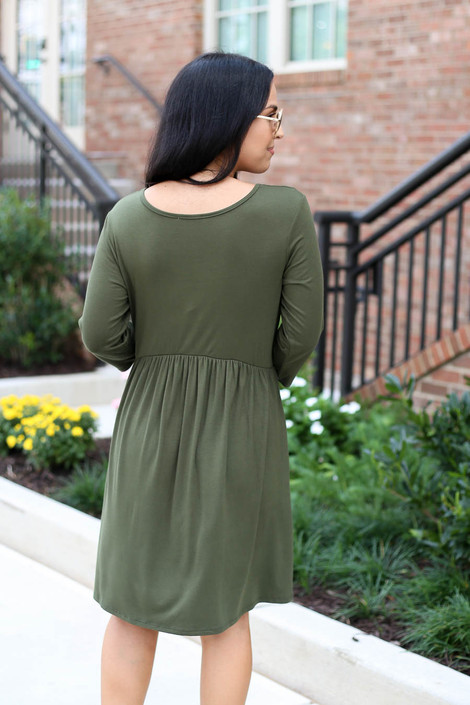 Model wearing Olive 3/4 Sleeve Babydoll Dress Back View