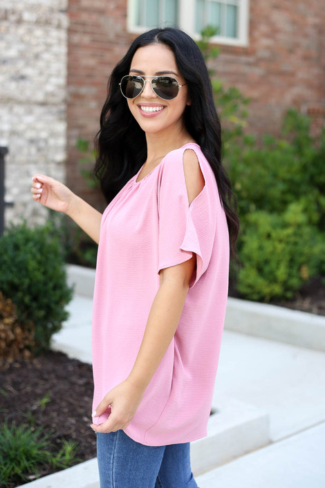 Mauve - Cold Shoulder Top