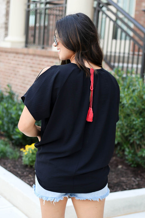 Red - Cold Shoulder Top
