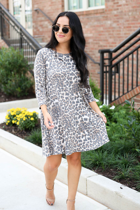 Model wearing Leopard Print 3/4 Sleeve Dress Full View
