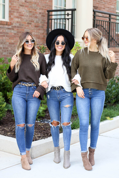 Models wearing Ivory, Brown, Olive Wide Sleeve Sweaters