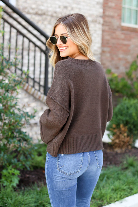 Brown - Wide Sleeve Sweater Back View