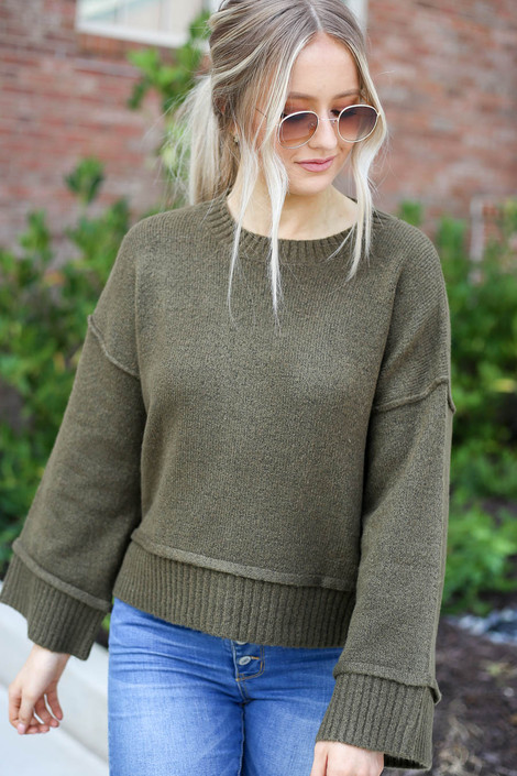 Olive - Wide Sleeve Sweater