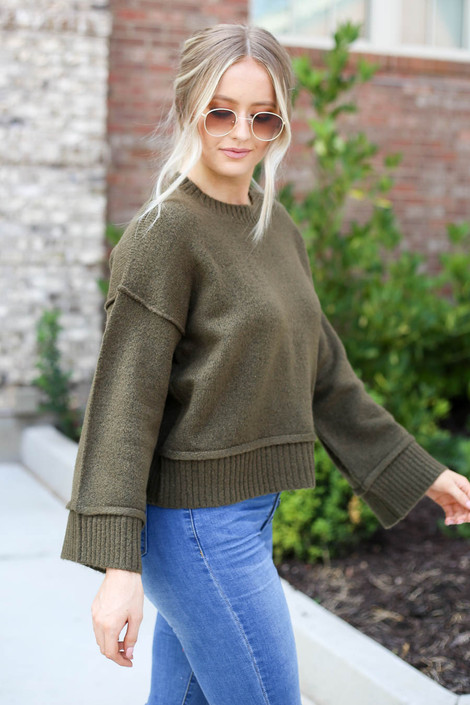 Olive - Wide Sleeve Sweater Side View