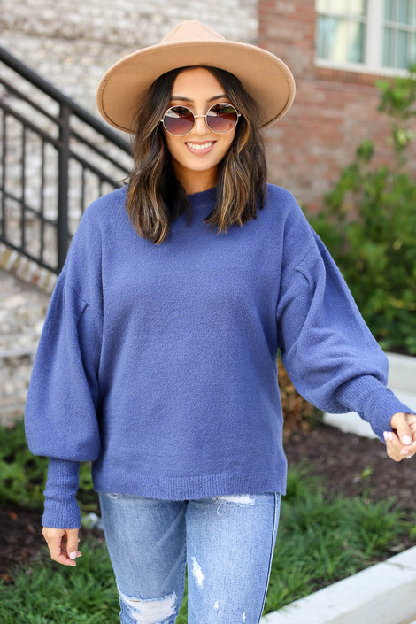 Model wearing Blue Balloon Sleeve Sweater Front View