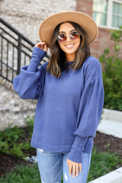 Blue - Balloon Sleeve Sweater