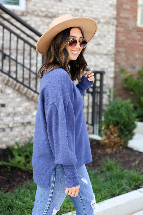 Blue - Balloon Sleeve Sweater Side View