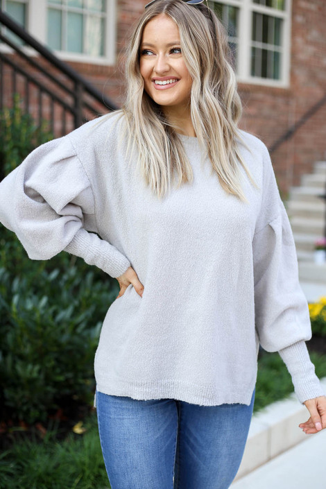 Model wearing Grey Balloon Sleeve Sweater Front View