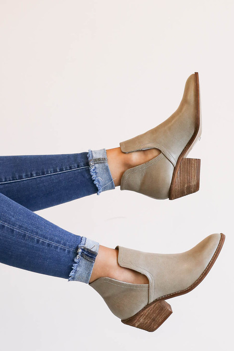 Grey - Vegan Leather Cutout Booties
