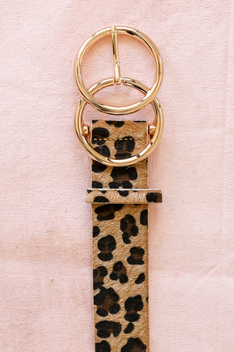 Ivory - Leopard Print Double O Ring Belt Flat Lay