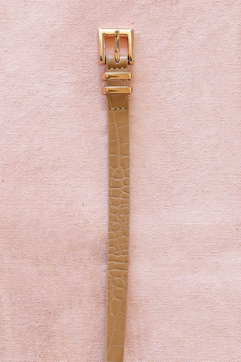Taupe crocodile belt