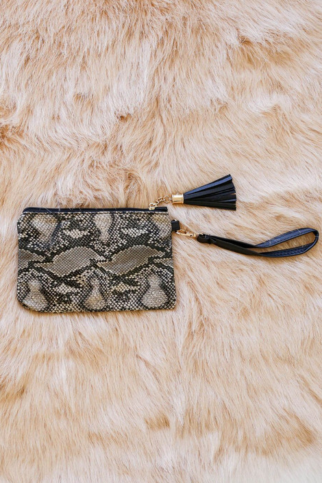 Ivory - Ansley Snakeskin Wristlet with removable strap