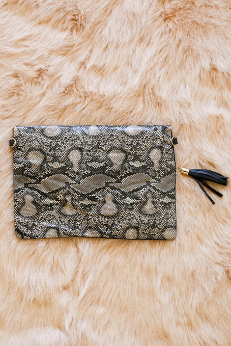 back of clutch with faux leather snakeskin
