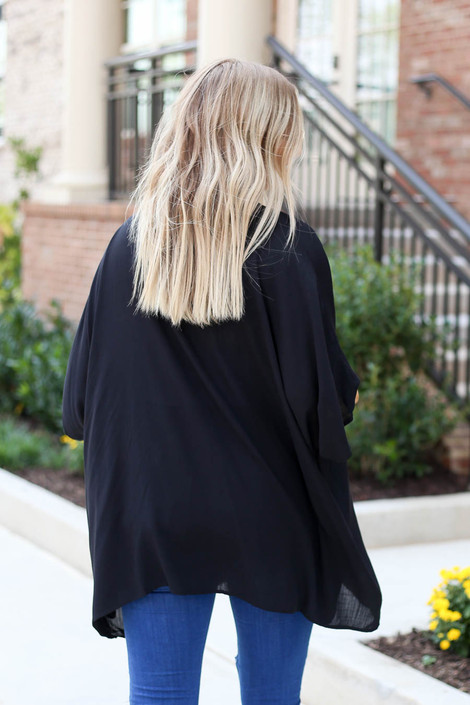 Model wearing Black Lightweight Knit Kimono Back View