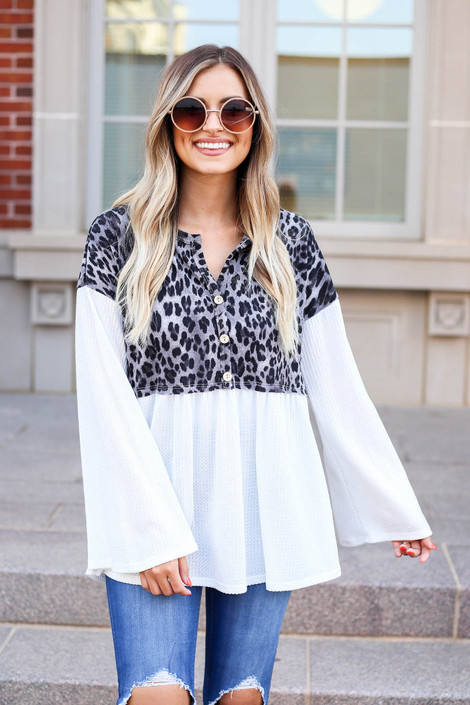 Model wearing Charcoal Leopard Contrast Waffle Knit Top