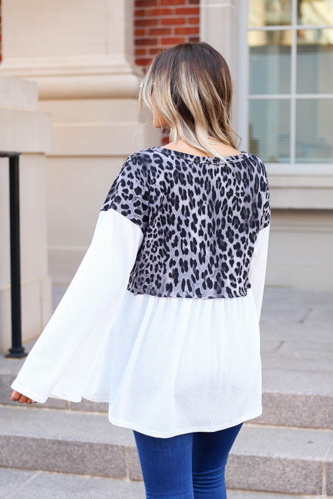 Model wearing Charcoal Leopard Contrast Waffle Knit Top Back View