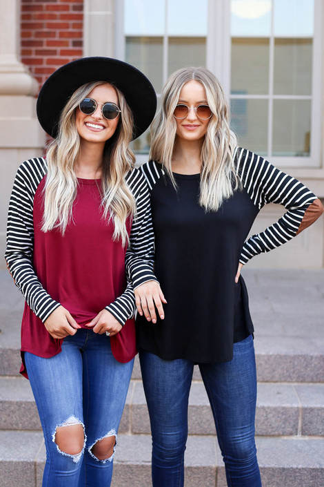 Model wearing Black and Burgundy Striped Elbow Patch Tops