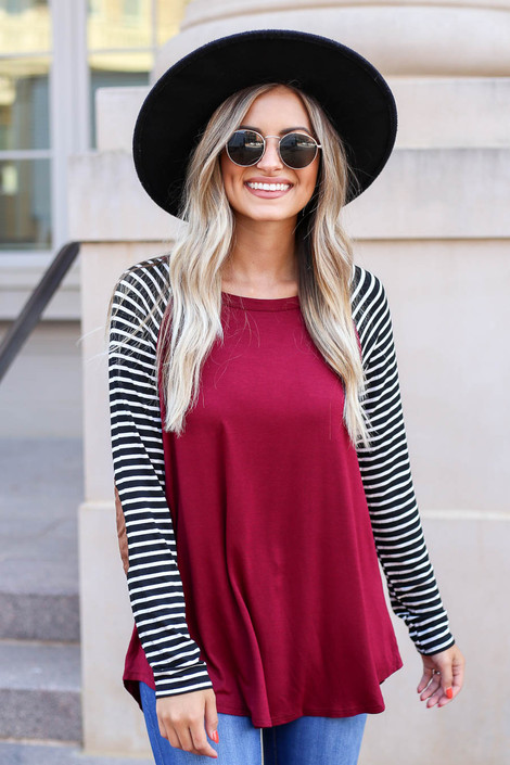 Burgundy - Striped Elbow Patch Top Front View
