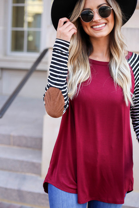 Burgundy - Striped Elbow Patch Top Detail View