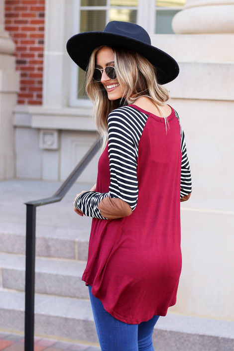Model wearing Burgundy Striped Elbow Patch Top Back View