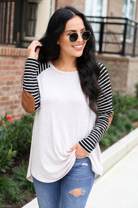 Natural - Striped Elbow Patch Top Front View