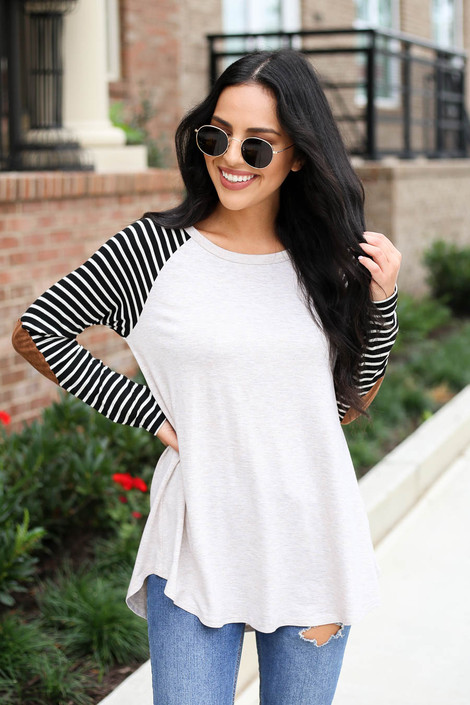 Model wearing Natural Striped Elbow Patch Top Front View