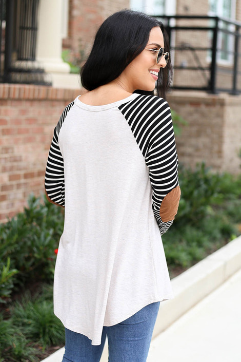 Model wearing Natural Striped Elbow Patch Top Back View