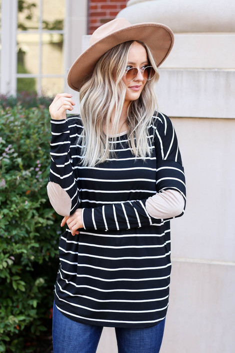 Model wearing Black and White Striped Elbow Patch Top Front View