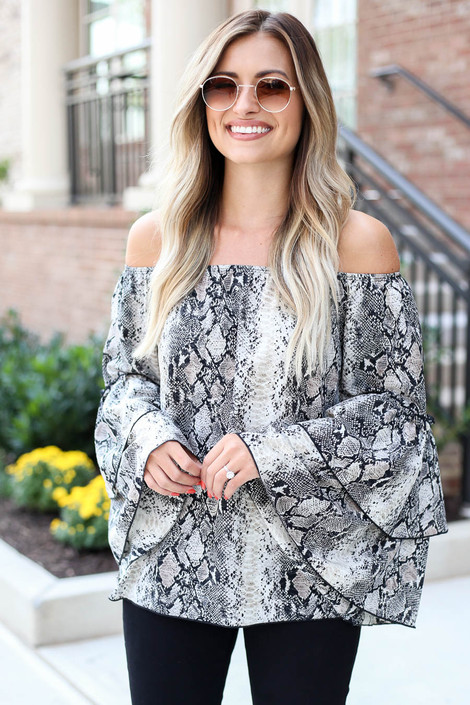 Model wearing Snakeskin Print Off the Shoulder Ruffle Sleeve Blouse Front View