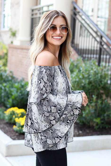 Snake - Off the Shoulder Ruffle Sleeve Blouse Side View