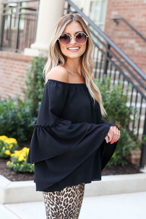 Black - Off the Shoulder Tiered Blouse Side View