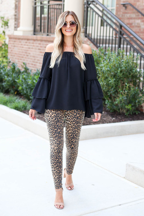 Model wearing Black Off the Shoulder Tiered Blouse Full View