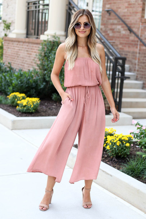 Blush - Strapless Culotte Jumpsuit