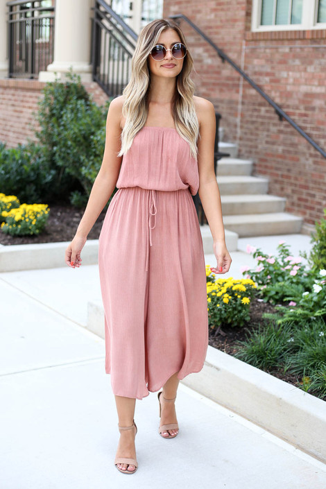 Model wearing Blush Strapless Culotte Jumpsuit